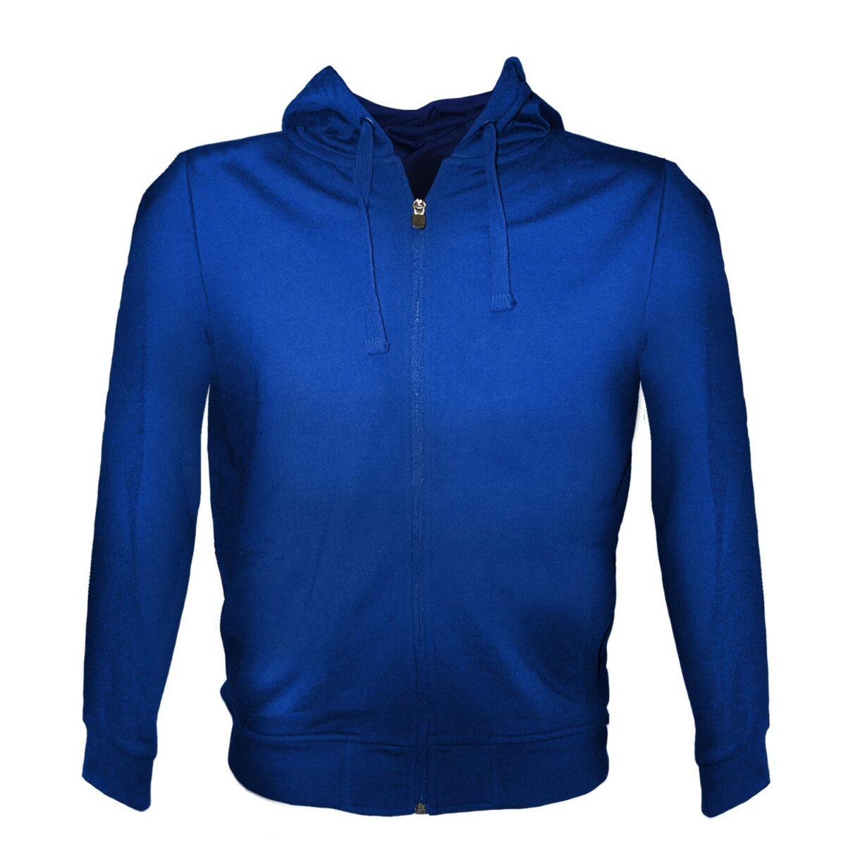 Felpa con zip blu royal